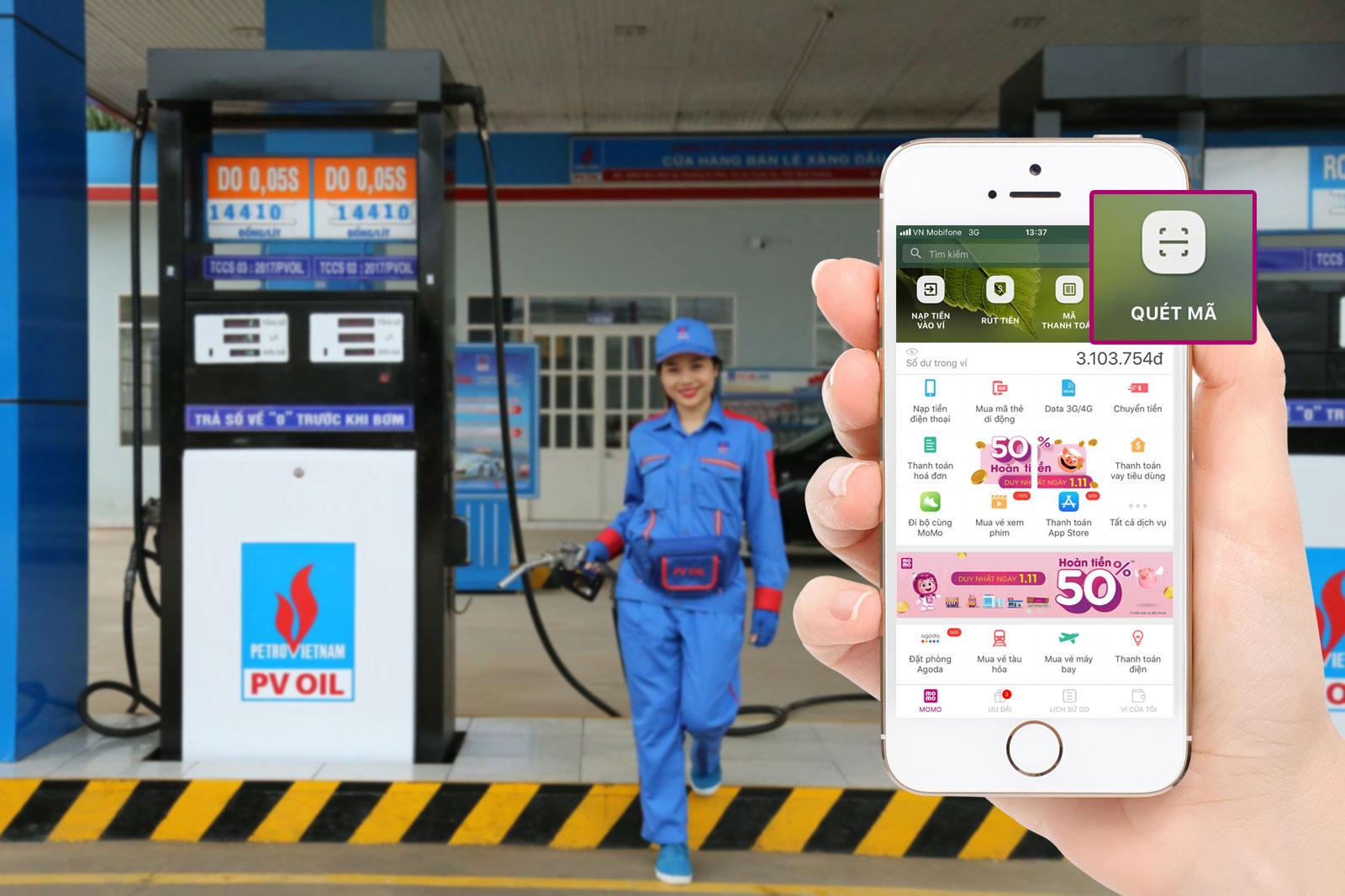 PVOIL và Ví MoMo hợp tác cho người dân mua xăng bằng ví điện tử 2